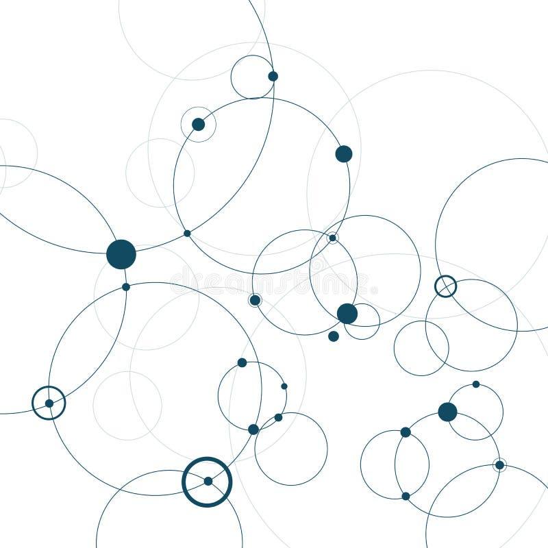 Abstracte achtergrond met cirkels en punten Het concept van de aansluting Vector illustratie vector illustratie