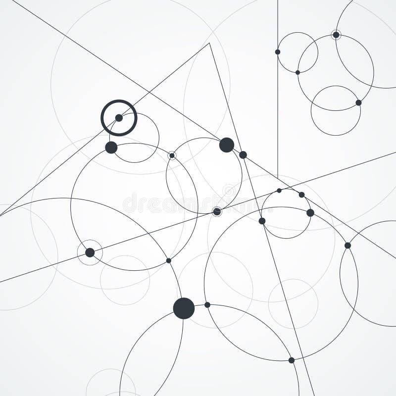 Abstracte achtergrond met cirkels en punten Het concept van de aansluting Vector illustratie stock illustratie