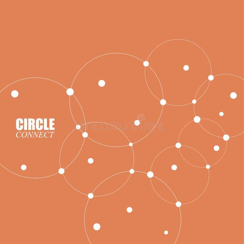 Abstracte achtergrond met cirkels en punten Verbind technologie stock illustratie