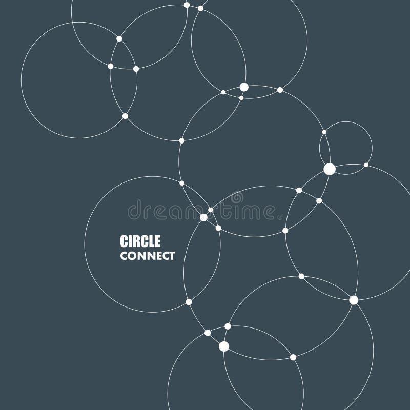 Abstracte achtergrond met cirkels en punten Verbind technologievector vector illustratie