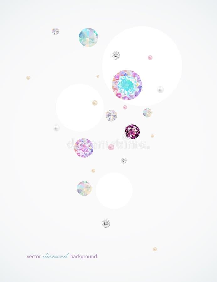 Abstracte achtergrond met diamanten en parels royalty-vrije illustratie