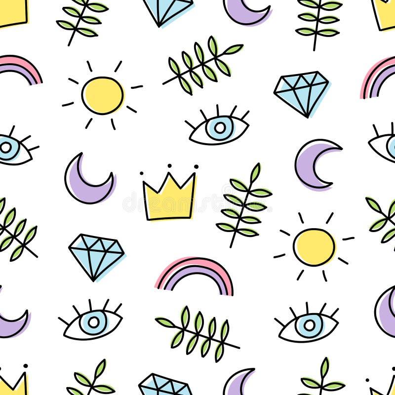 Abstracte achtergrond met diverse beeldverhaalelementen Naadloos patroon met regenboog, kroon, zon, oog, blad, maan en diamant royalty-vrije illustratie
