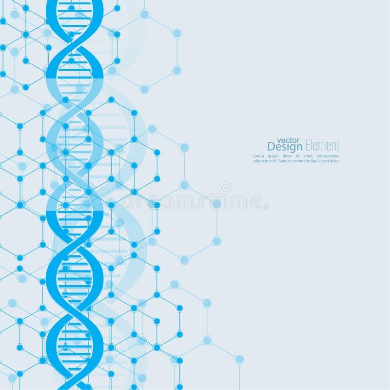 Abstracte achtergrond met DNA-moleculestructuur stock illustratie
