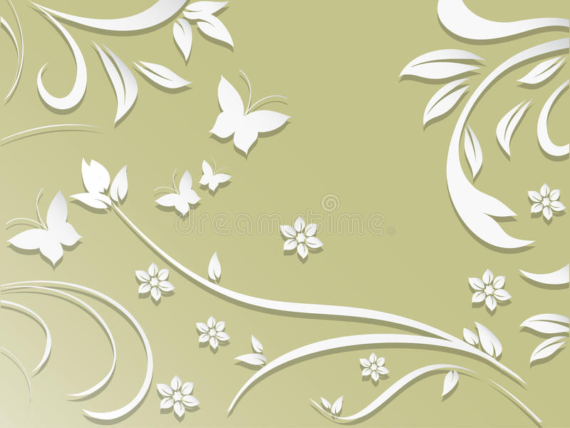 Abstracte achtergrond met document bloemen en vlinders stock illustratie