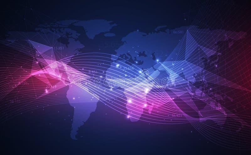 Abstracte achtergrond met dynamische golven, grote gegevensvisualisatie met een wereldkaart Vector illustratie stock illustratie