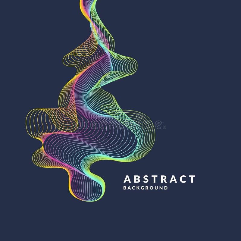 Abstracte achtergrond met dynamische golven, lijnen in een heldere kleurrijke stijl royalty-vrije illustratie