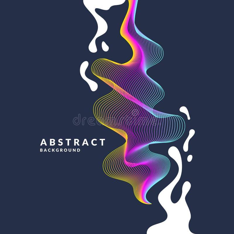 Abstracte achtergrond met dynamische golven, linesn en plonsen in een heldere kleurrijke stijl vector illustratie