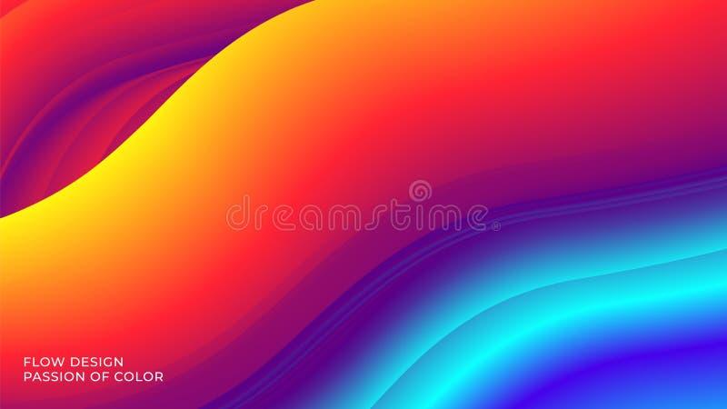Abstracte achtergrond met een vloeibare stroom van de gradiëntkleur en een motie van golvende vloeibare lijnen stock illustratie