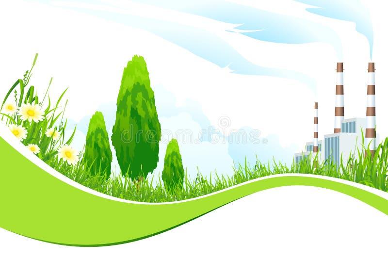 Download Abstracte Achtergrond Met Elektrische Centrale En Bomen Stock Illustratie - Illustratie bestaande uit rook, illustratie: 29508834