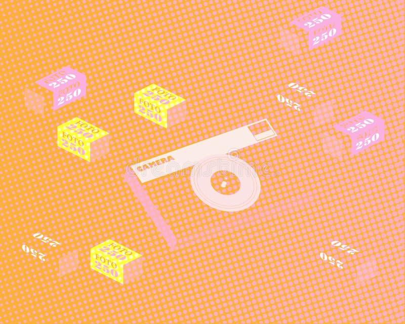 Abstracte achtergrond met filmcamera en film in het pakket Het effect van verlichte film Vector stock illustratie