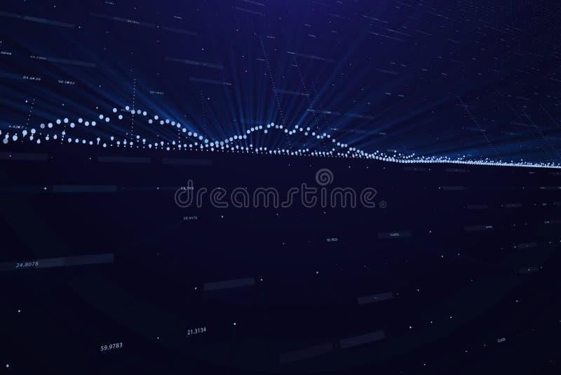 Abstracte achtergrond met financiële gegevens over een monitor, het concept van financiëngegevens, effectenbeurs tarifering, blau vector illustratie