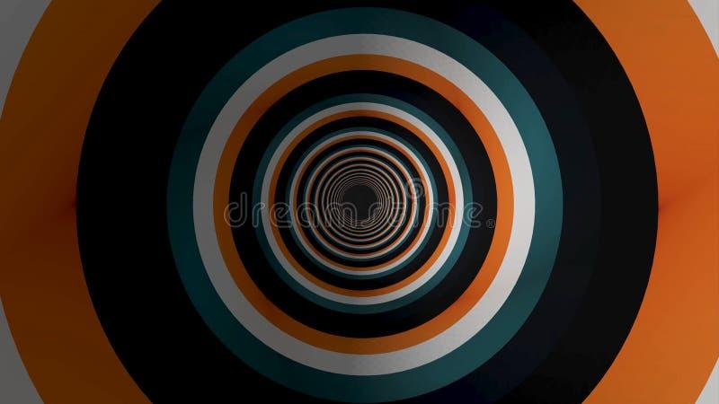 Abstracte achtergrond met geanimeerde hypnotic kleurrijke tunnel Samenvatting gekleurde tunnelachtergrond stock illustratie