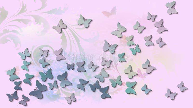 Abstracte achtergrond met gekleurde vliegende vlinders royalty-vrije illustratie