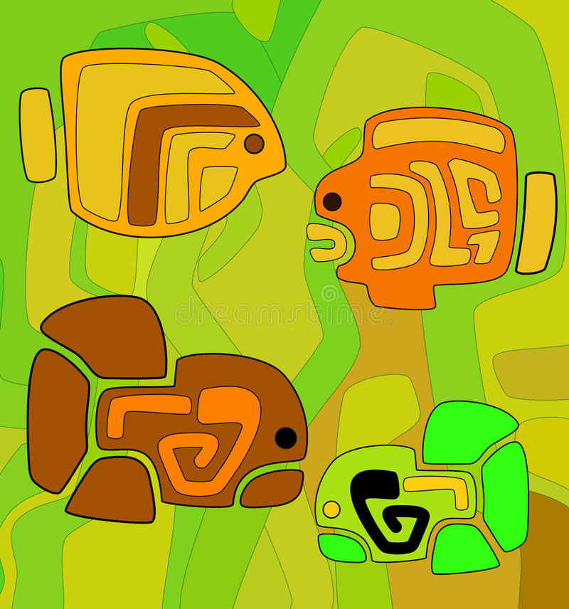 Abstracte achtergrond met gestileerde stammenvissen royalty-vrije illustratie