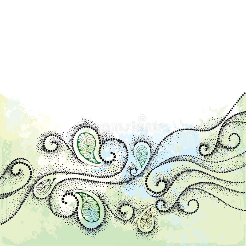 Abstracte achtergrond met gestippelde wervelingen op geweven terug in pastelkleuren Horizontaal vignet met lege plaats voor tekst stock illustratie