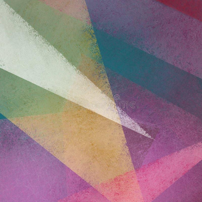 Abstracte achtergrond met geweven driehoeken en vormen gelaagd in modern patroon in groenachtig blauwe rode gele en roze kleuren, vector illustratie