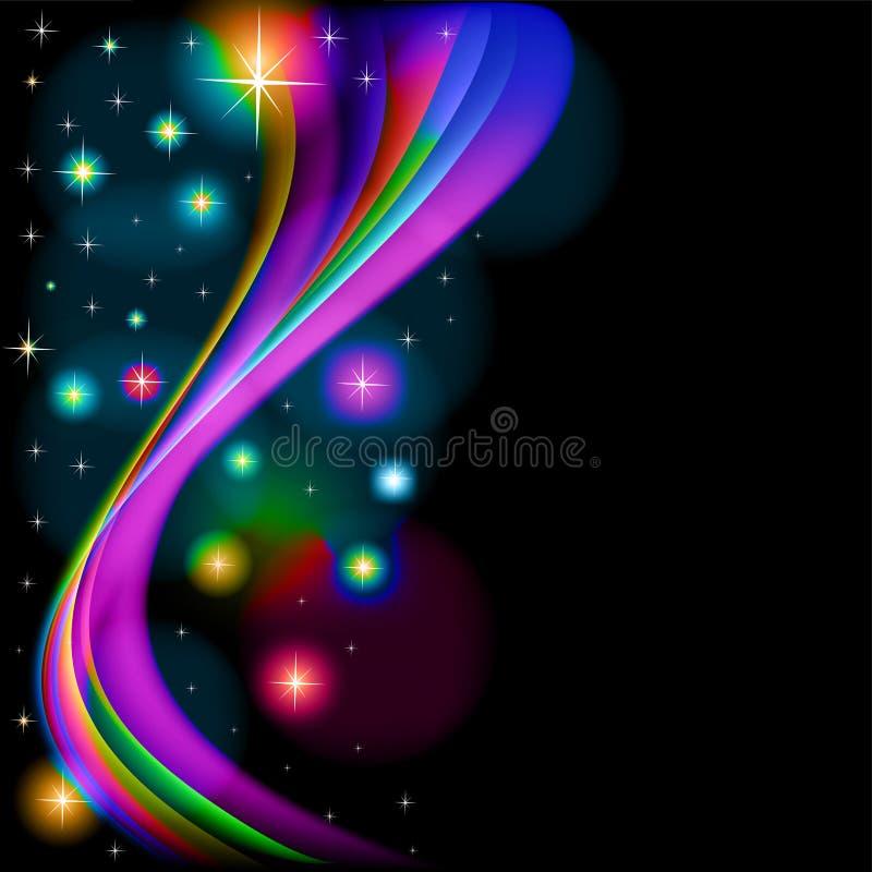 Abstracte achtergrond met gloeiende sterren en golven royalty-vrije illustratie
