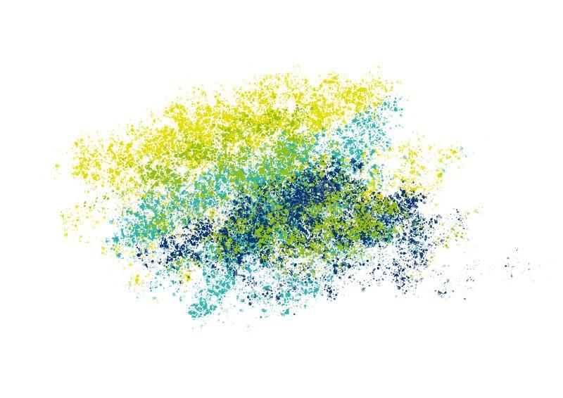 Abstracte achtergrond met groene gele blauwe plonsen royalty-vrije illustratie