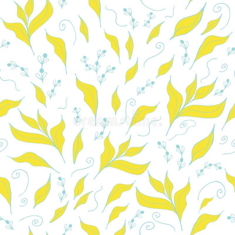 Abstracte achtergrond met hand gele getrokken bladeren Naadloos patroon royalty-vrije illustratie
