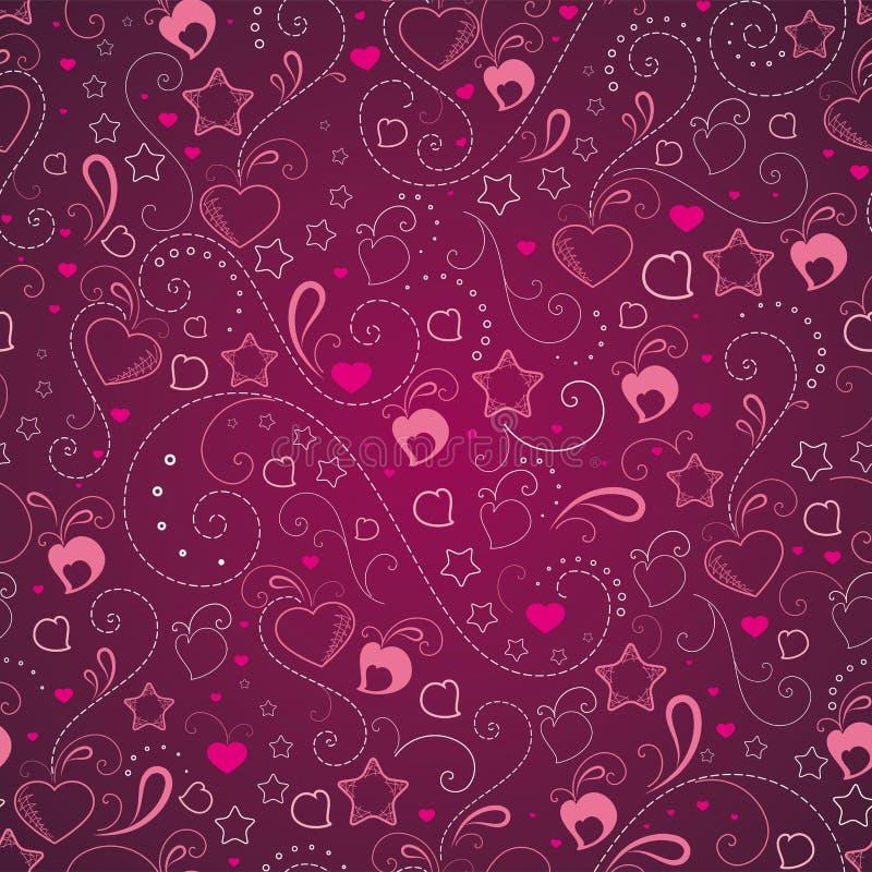 Abstracte achtergrond met harten en sterren stock illustratie