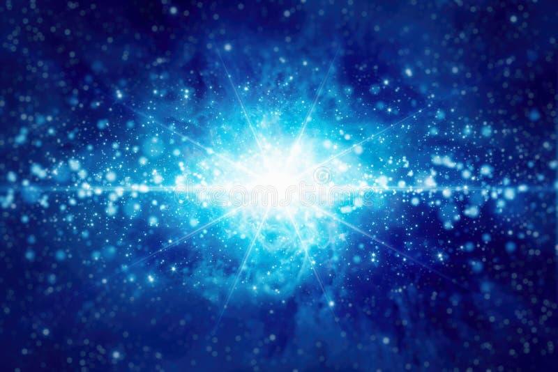 Abstracte achtergrond met heldere blauwe ster, lichten en fonkelingen stock illustratie