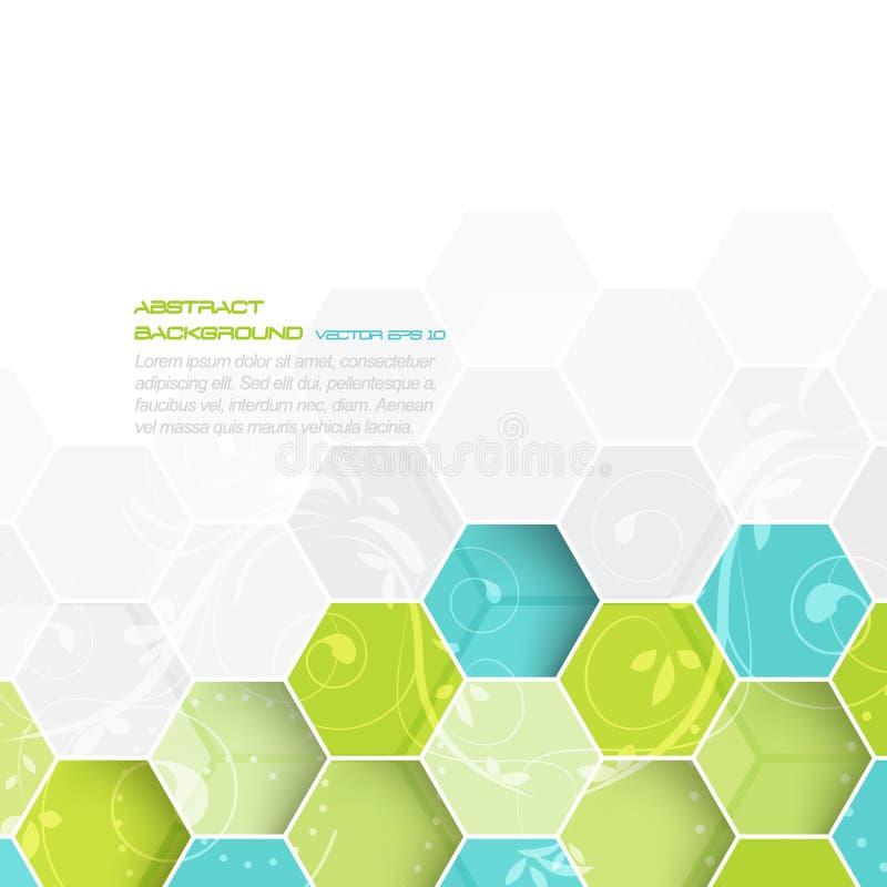 Abstracte achtergrond met hexagonaal en bloemenpatroon vector illustratie