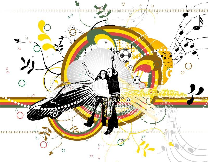Abstracte achtergrond met kleurenvormen en silhouet royalty-vrije illustratie
