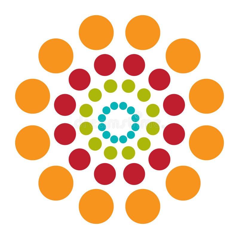 Abstracte achtergrond met kleurrijke cirkelshypnose Vector stock fotografie