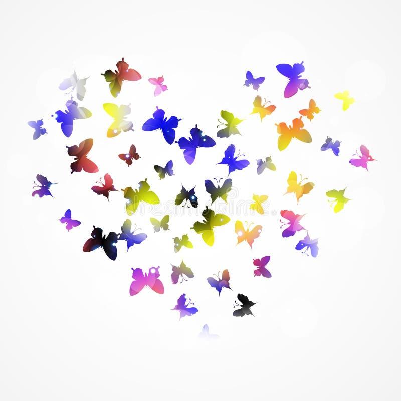 Abstracte achtergrond met kleurrijke vlinder in de hartvorm royalty-vrije illustratie
