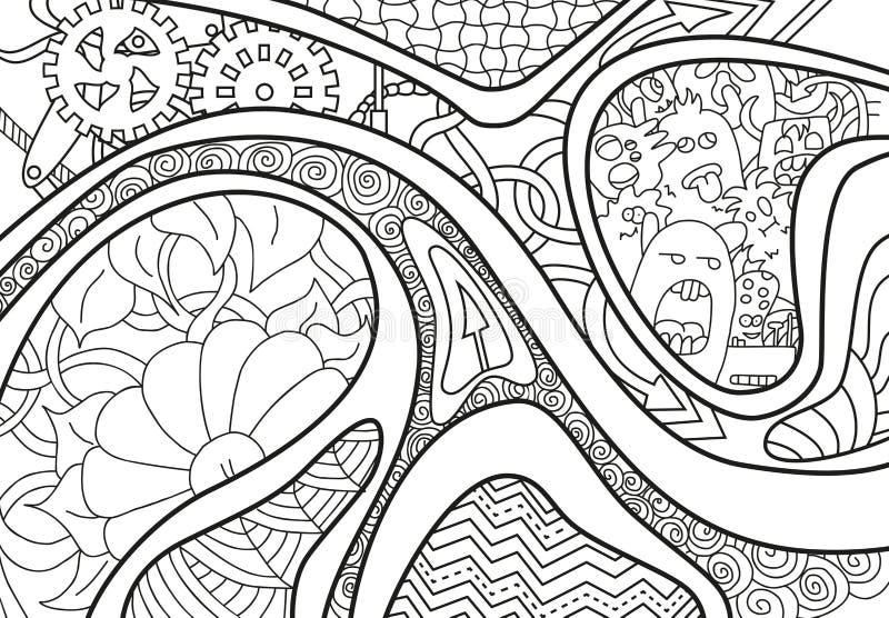 Abstracte achtergrond met lijnen, pijl, golf en bloemen royalty-vrije stock afbeeldingen