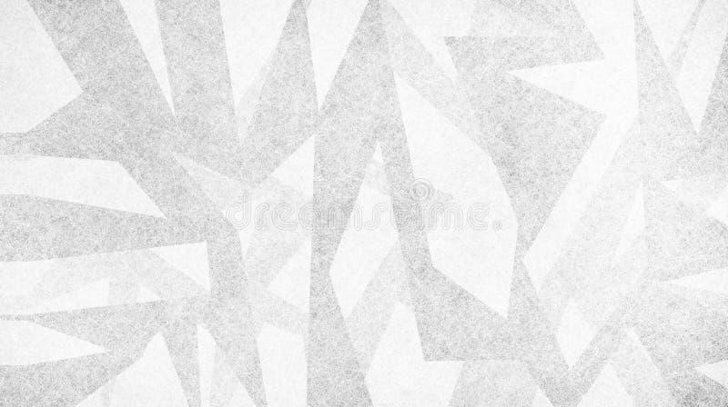 Abstracte achtergrond met modern ontwerp, scherpe grijze en witte stukken driehoeken en hoeken in willekeurig artsy patroon royalty-vrije illustratie