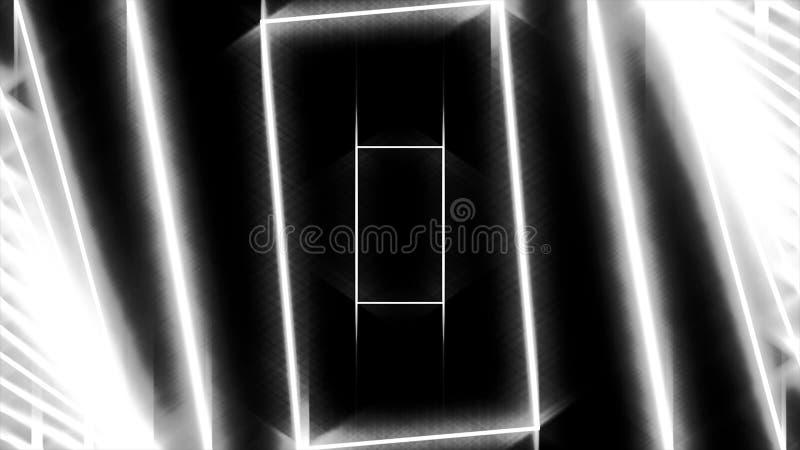 Abstracte achtergrond met neon witte rechthoeken die zich één voor één op zwarte achtergrond, naadloze lijn bewegen animatie glow royalty-vrije illustratie