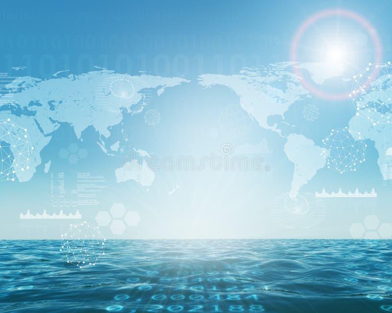 Abstracte achtergrond met overzeese en aardekaart royalty-vrije stock afbeelding