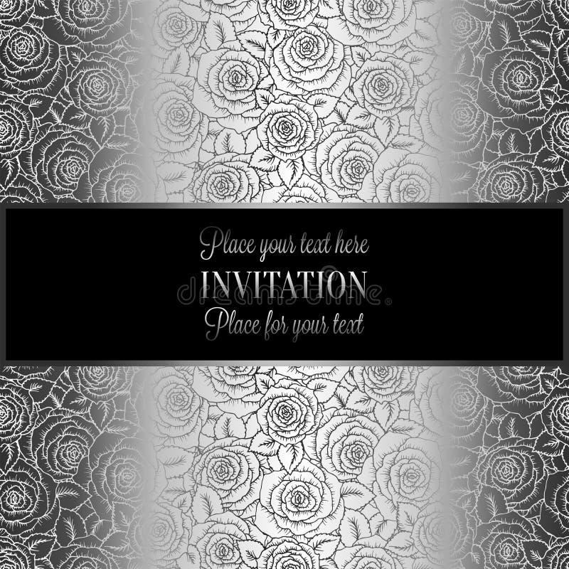 Abstracte achtergrond met rozen, luxe zwarte en zilveren uitstekende die tracery van rozen, ornamenten van het damast de bloemenb stock illustratie