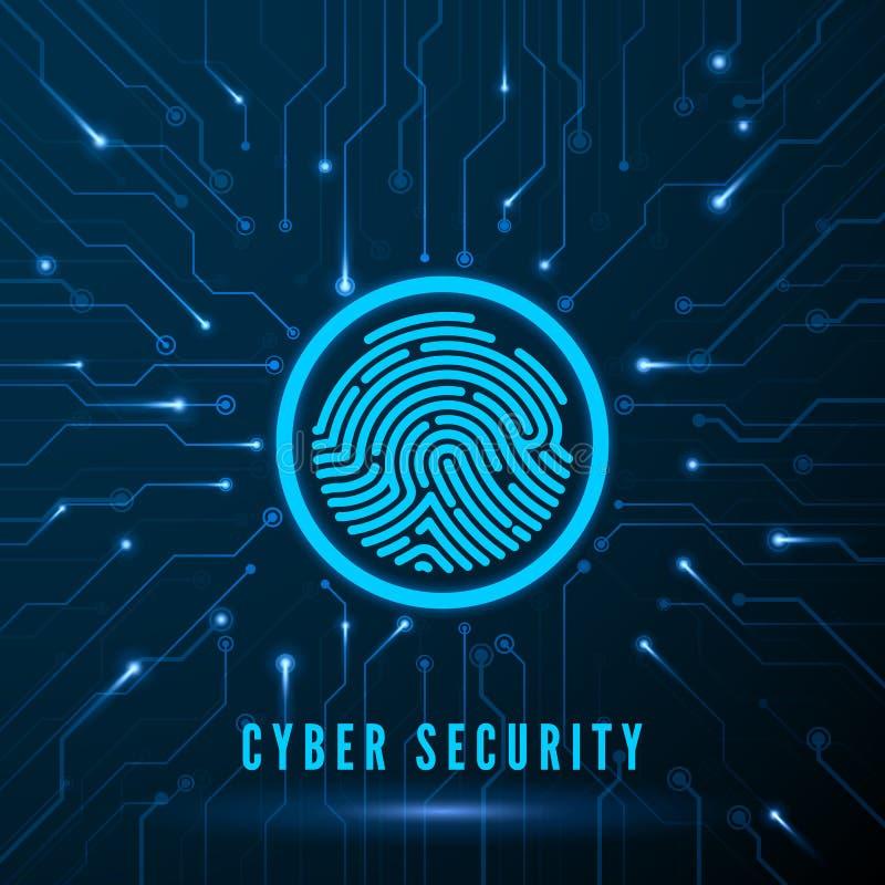 Abstracte achtergrond met slot en regeling Het Identificatiesysteem van het vingerafdrukaftasten Vingerafdruk op Kring Biometrisc royalty-vrije illustratie
