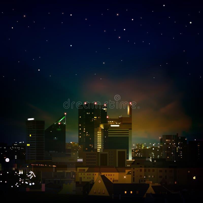 Abstracte achtergrond met stad bij nacht