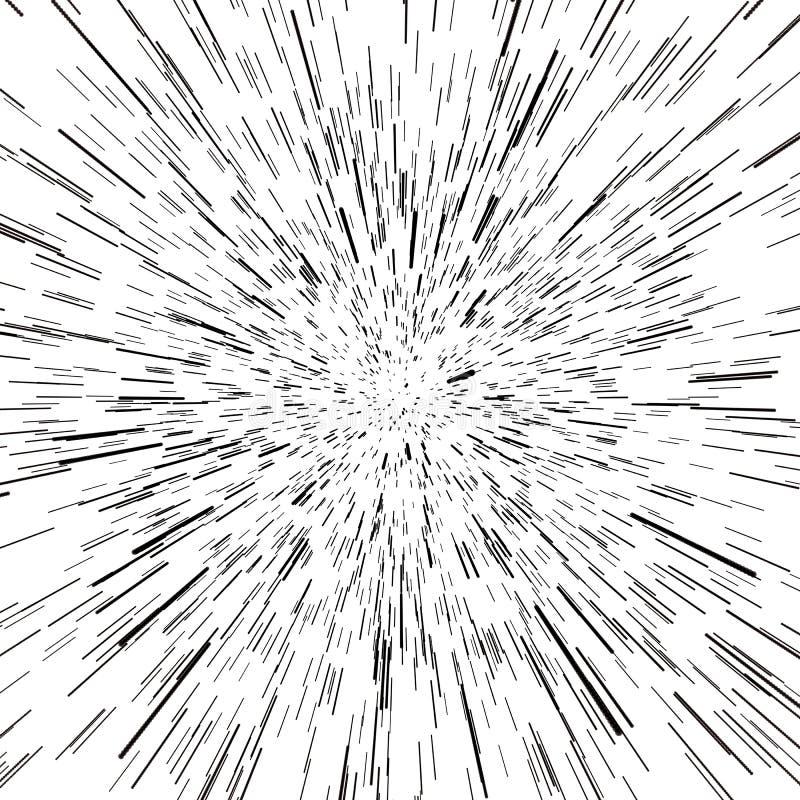 Abstracte Achtergrond met Sterafwijking of Hyperspace Abstract Exploderend Effect Hyperspacereis Het Concept Ruimte vector illustratie