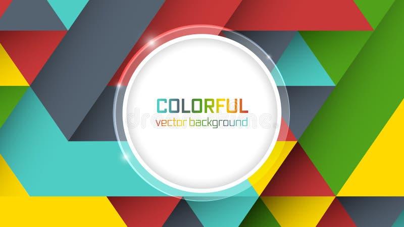 Abstracte achtergrond met symmetrische kleurrijke driehoeken en cirkel voor de belangrijkste tekst stock illustratie