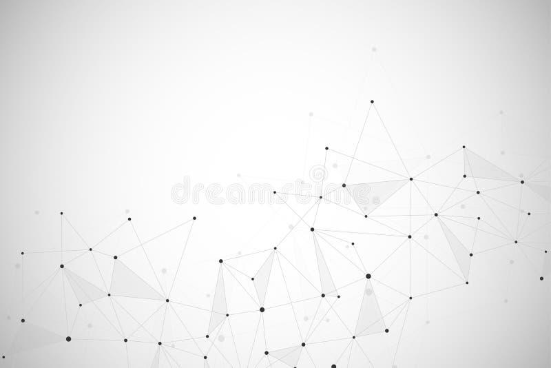 Abstracte achtergrond met verbonden lijnen en punten Geometrische en veelhoekige mededeling stock illustratie