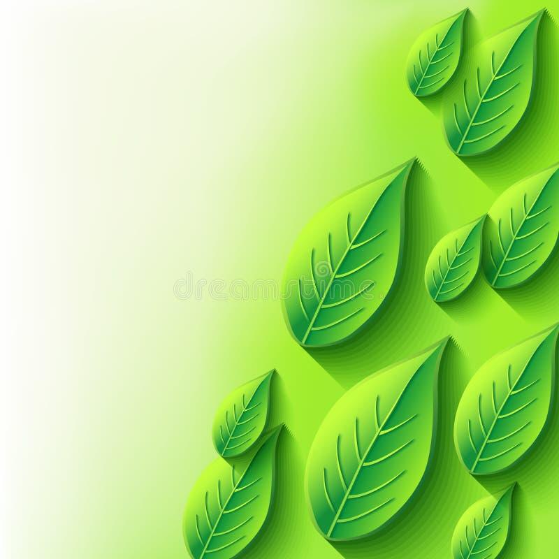Abstracte achtergrond met vers de lente 3d blad vector illustratie