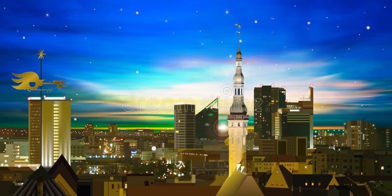 Abstracte achtergrond met zonsondergang en cityscape