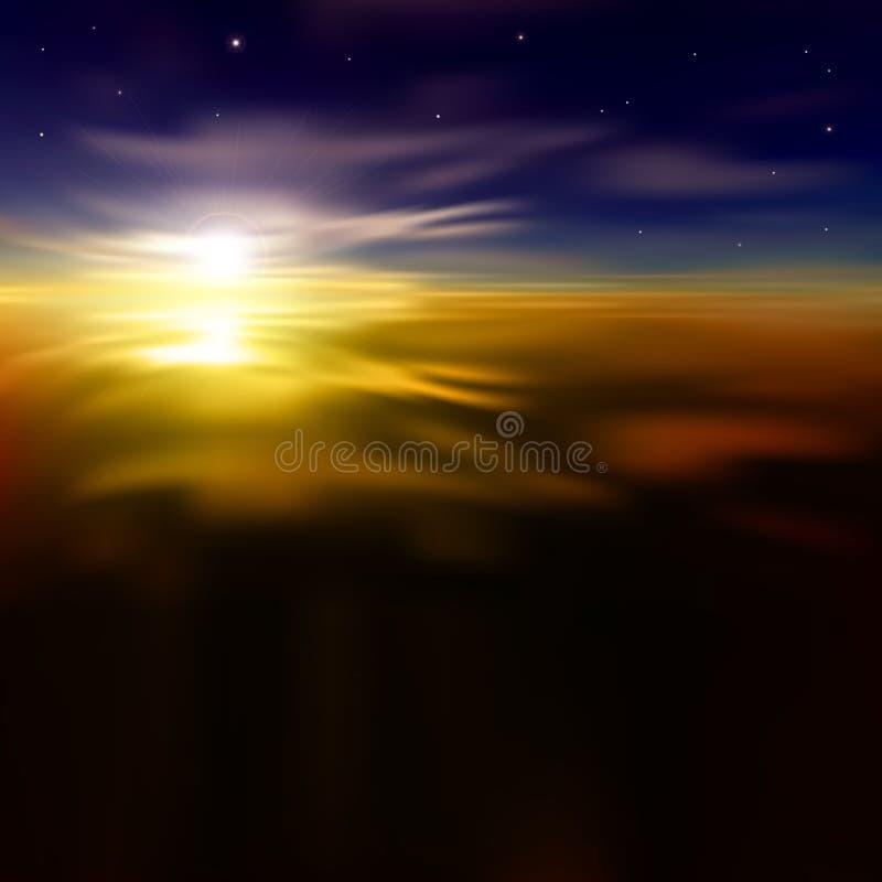 Abstracte achtergrond met zonsopgang en wolken royalty-vrije illustratie