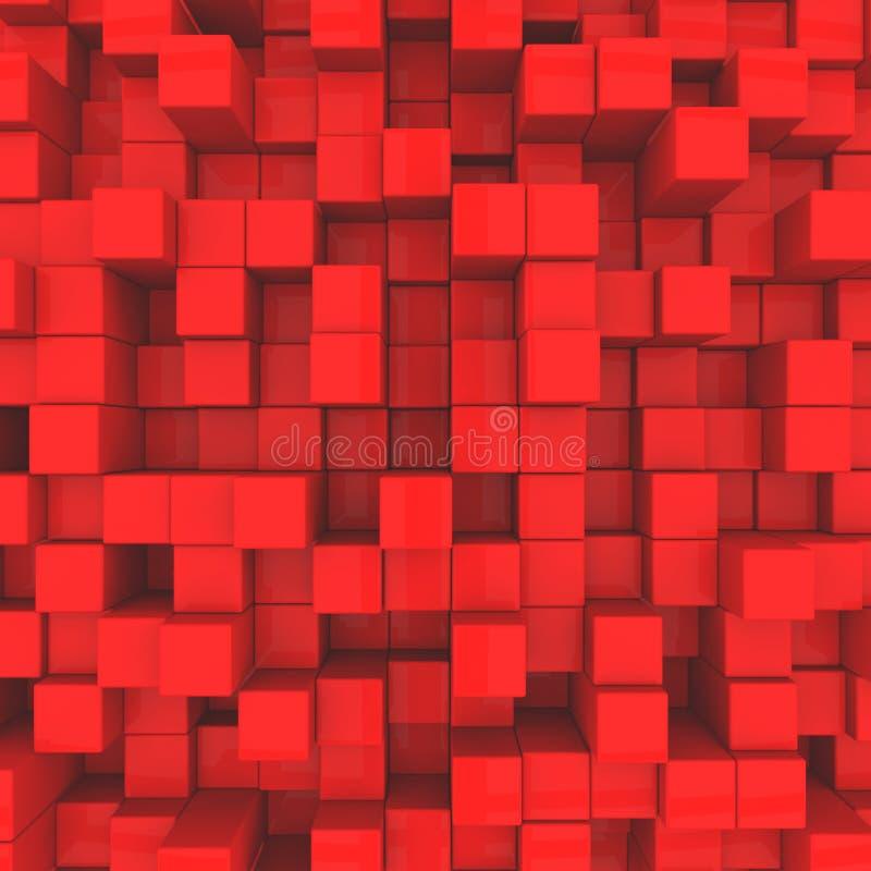 abstracte achtergrond Rode Kubussen royalty-vrije illustratie