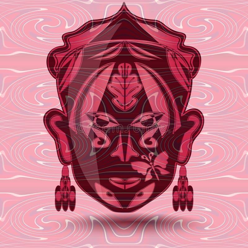 Abstracte achtergrond in in rood en roze met een vrouwenmasker stock illustratie