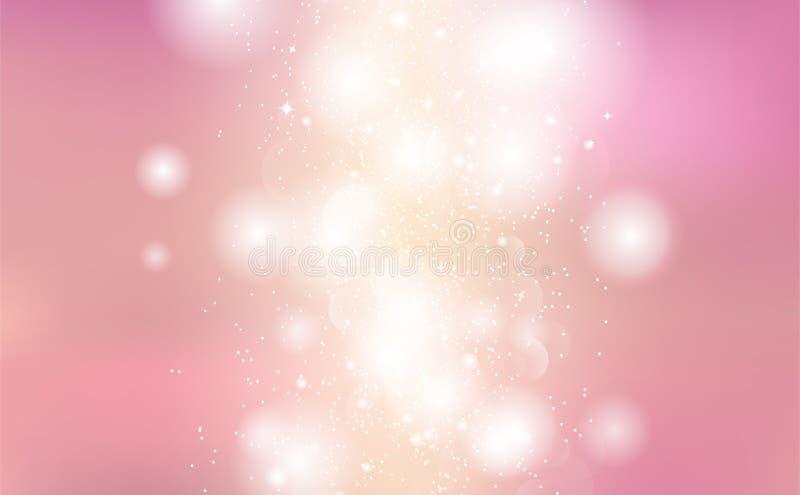 Abstracte achtergrond, sterren het gloeien glittery van de flikkeringsfonkeling, glanzende vector van de pastelkleur de romantisc vector illustratie
