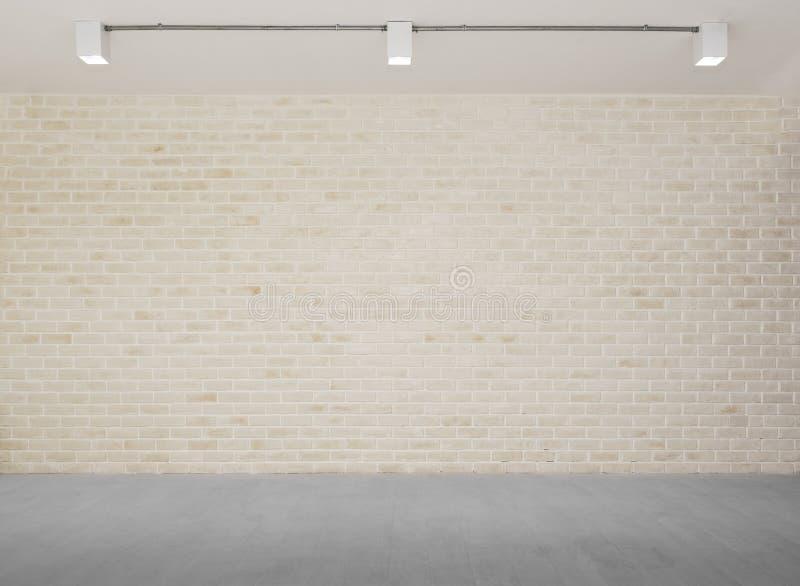 Abstracte achtergrond van bakstenen muur met grijs concreet vloerverstand royalty-vrije stock afbeelding