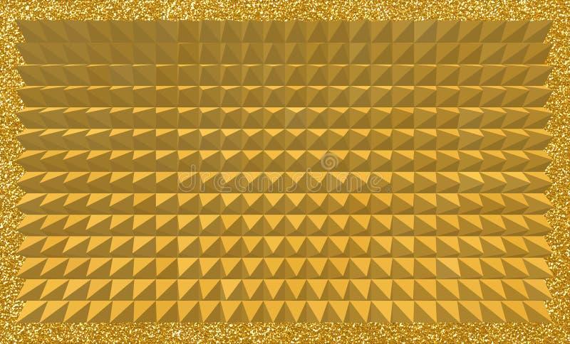 Abstracte achtergrond van 3D gouden piramides met glitterykader royalty-vrije illustratie