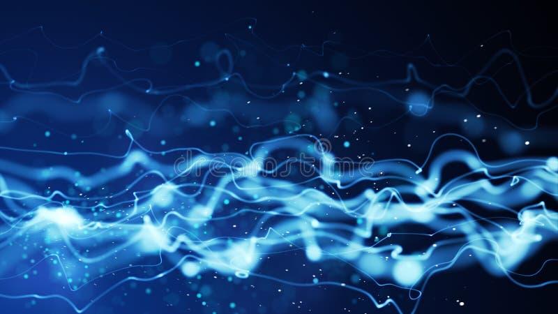 Abstracte achtergrond van de energie de blauwe stroom stock illustratie