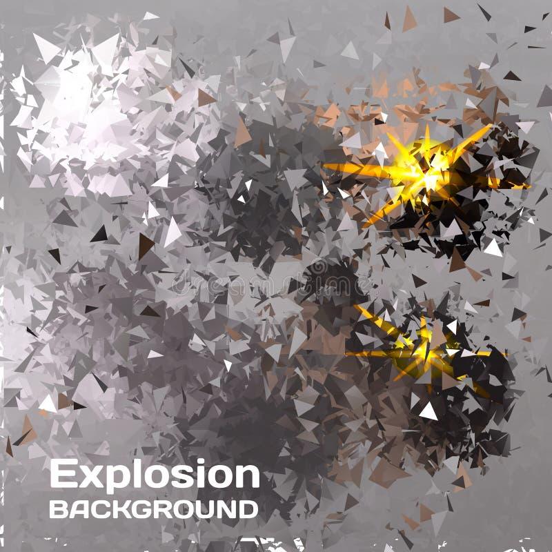 Abstracte achtergrond van exploderende veelhoekige ballen vector illustratie