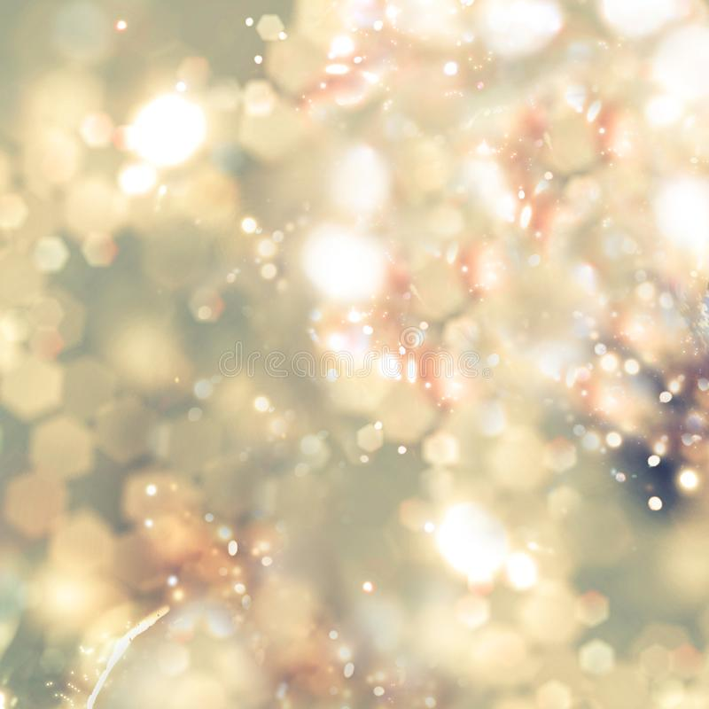 Abstracte Achtergrond van Gouden Vakantielichten Kerstmissterretjes stock fotografie